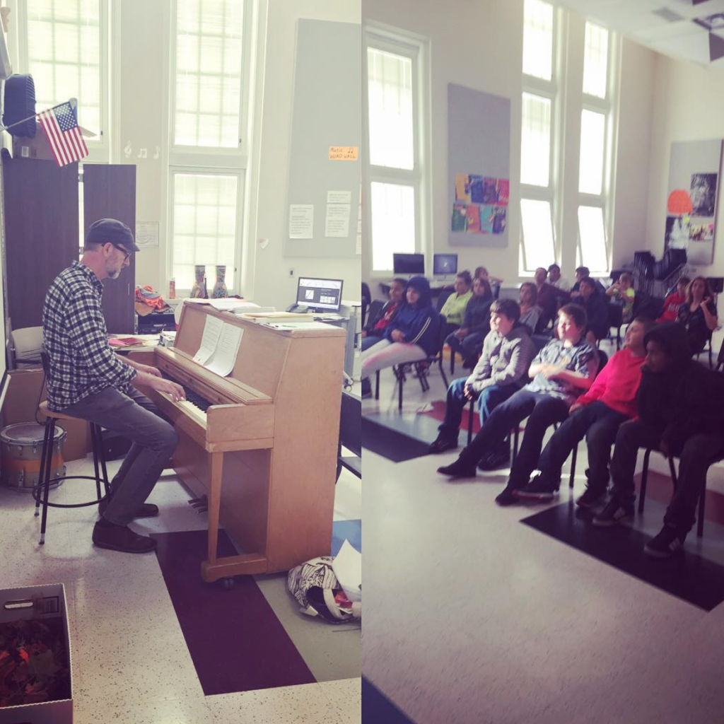 Harnetty performing and talking with students at Oyler Elementary School as part of the Mindful Music Moments program. Cincinnati, Ohio, 2016. Photo: Stacey Sims.