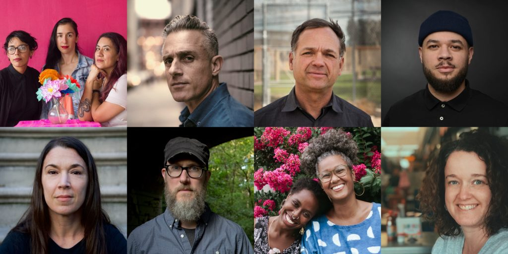 2018 ABOG Fellows (clockwise from top left): Las Imaginistas, Miguel Luciano, Gregory Sale, Jordan Weber, Rachel G. Barnard, Our Mothers Kitchens, Brian Harnetty, and Melanie Crean