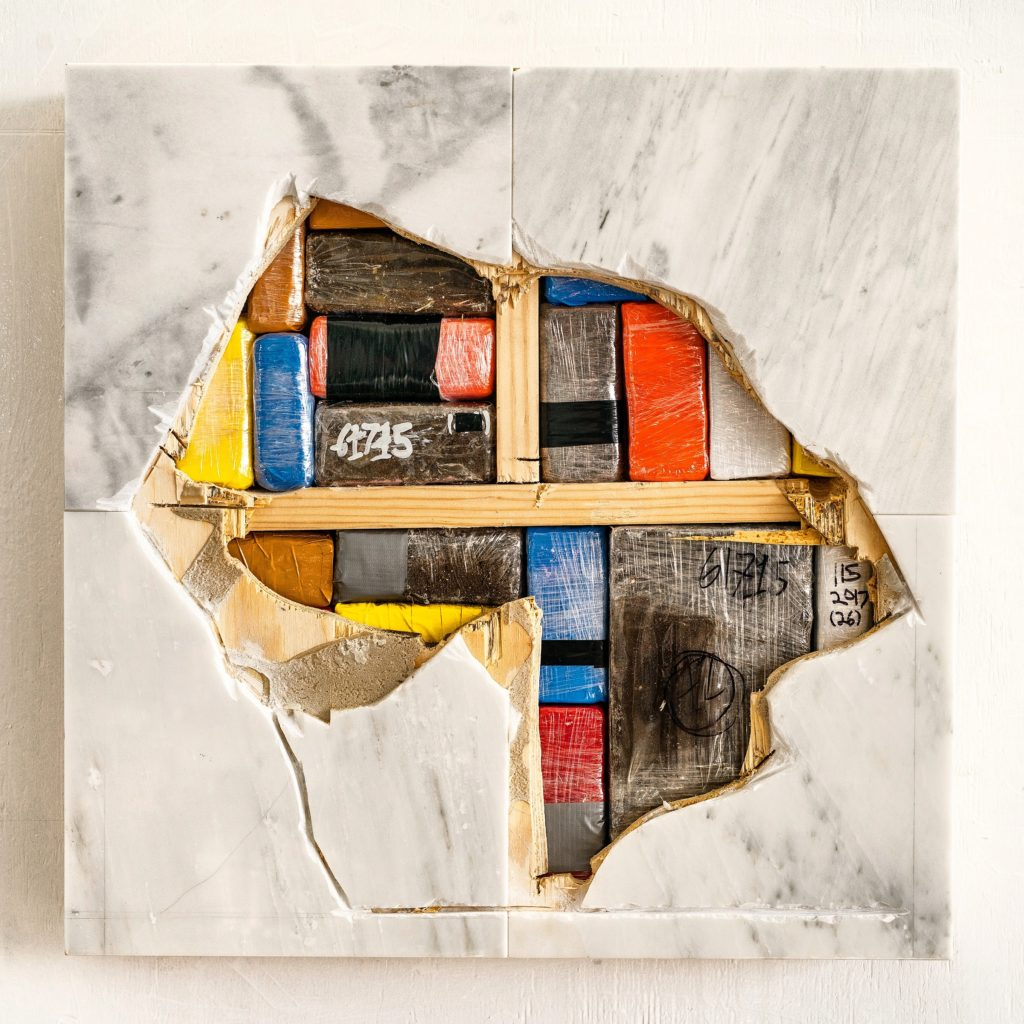 Chapels (marble, earth (AMC Charleston SC church shooting), plastic packaging, wood). Image courtesy the artist.