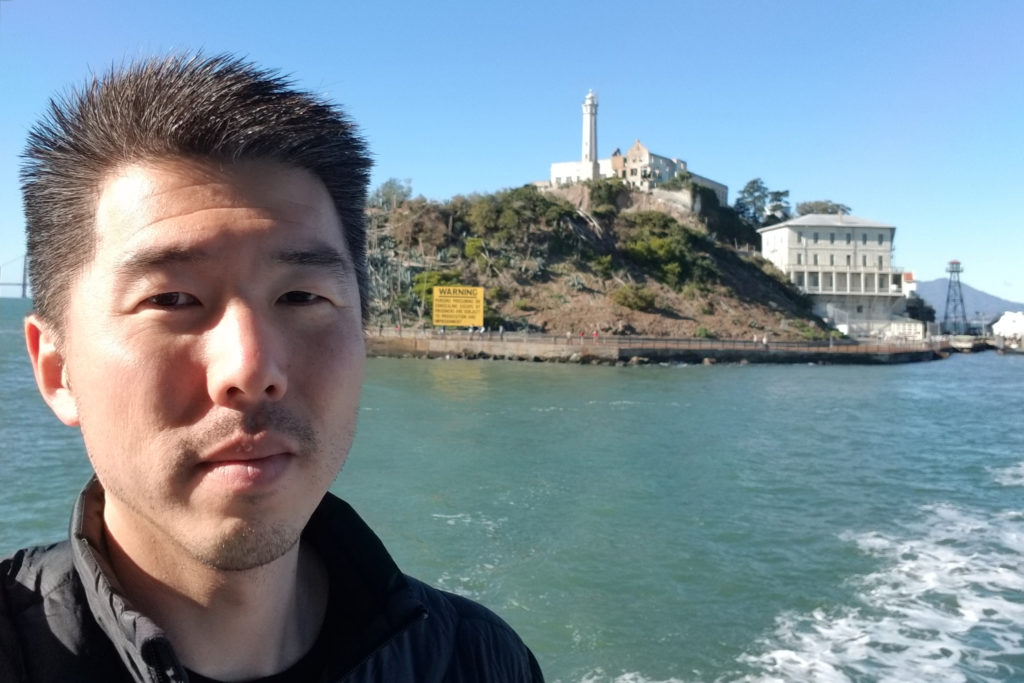 Like 1.4 million visitors annually, Kirn Kim (core project collaborator and the first professional employee of The California Endowment with a conviction history) leaves Alcatraz Island. Courtesy Gregory Sale.