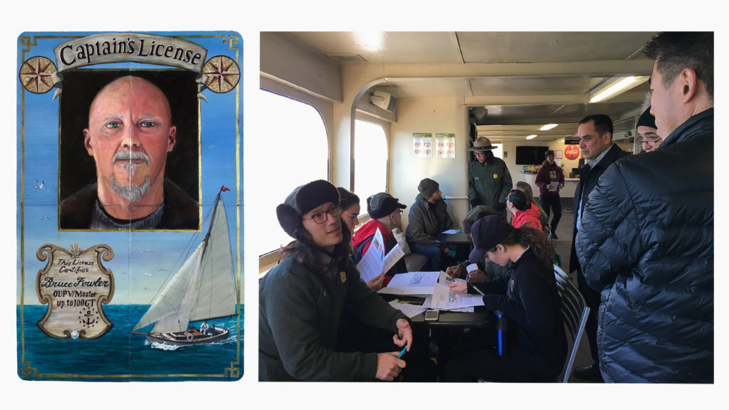 Completed Future ID by Bruce Fowler. Park Ranger Takeo Kishi discusses his work with urban youth and system-involved adults on the ferry to Alcatraz.