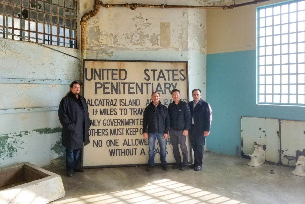 Core project collaborators Ryan Lo, Gregory Sale, Dr. Luis Garcia, and Kirn Kim traveled to Alcatraz to meet with the National Park Service and the nonprofit Golden Gate National Parks Conservancy. Courtesy Gregory Sale.