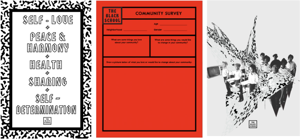 Designed materials and community survey for The Black School, image: RAVA Films