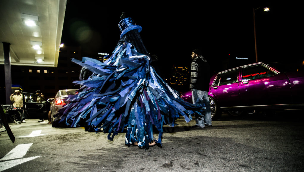 "House/Full of Blackwomen Episode: ""Now You See Me (Fly),"" a ritual procession on the streets of Downtown Oakland against sex trafficking, December 2016. Photo by Robbie Sweeny."