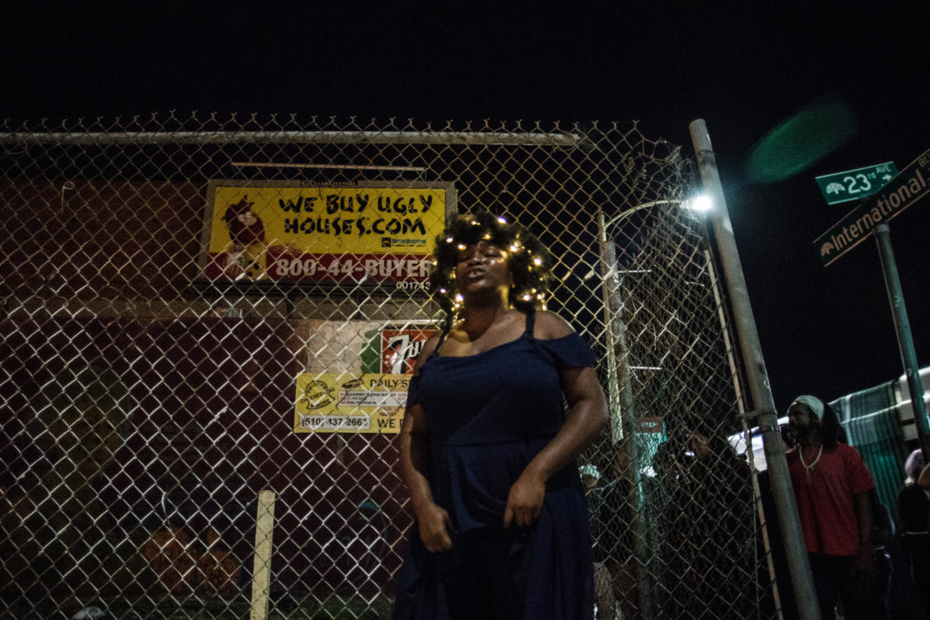 """House/Full of Blackwomen Episode: """"The Meaning of Canaries,"""" a ritual performance addressing displacement in Oakland; East Side Arts Center, October 2016. Photo by Robbie Sweeny."""