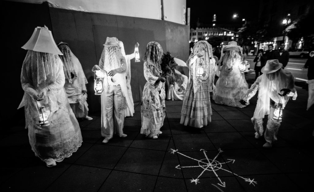 "House/Full of Blackwomen Episode: ""Now You See Me (Fly),""a ritual procession on the streets of Downtown Oakland against sex trafficking, May 2016. Photo by Robbie Sweeny."