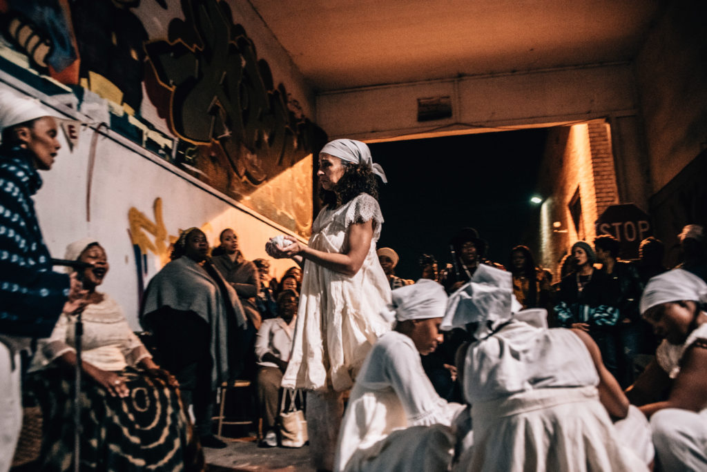 """House/Full of Blackwomen Episode: """"passing/through/the great middle,"""" ritual performance at East Side Arts Center, February 2018. Photo by Robbie Sweeny."""