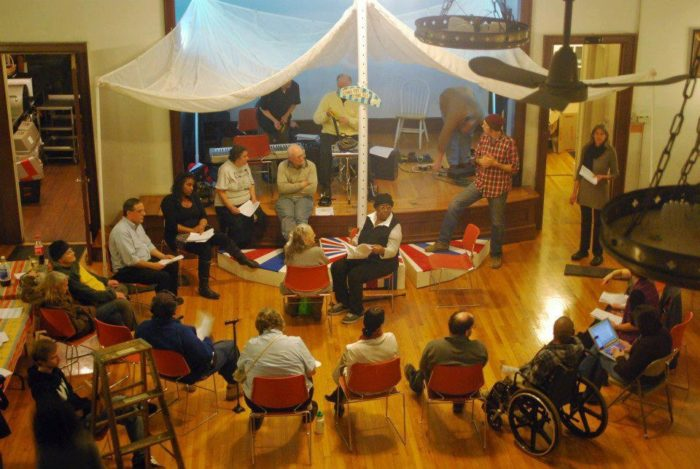 The D.R.E.A.(M.)3 Freedom Revival (2011-2015), rehearsal for revival about aging and displacement, with members of the Ida Benderson Senior Center. Image courtesy the artist.