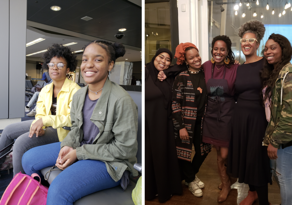 Left: Amaia and Milan Jennings. Right: Jackie Brack (second from left), Khaliah Pitts, Shivon Love, and Our Mothers' Kitchens participants. Images courtesy Jackie Brack.