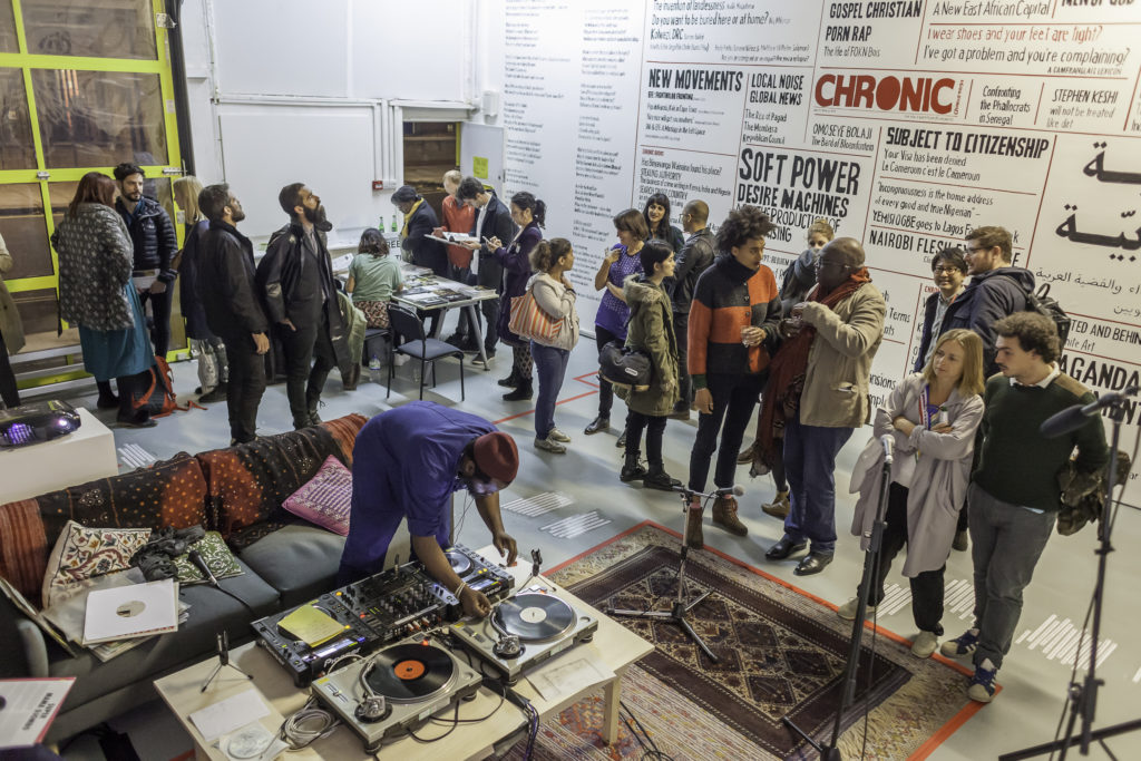 Preview of The Chimurenga Library, which was co-curated by Chimurenga, The Otolith Collective, and The Showroom. The Chimurenga Library inserted itself into The Showroom's existing frameworks, functions, and structures without displacing its everyday activities. Photo by Dan Weill, courtesy of Chimurenga.