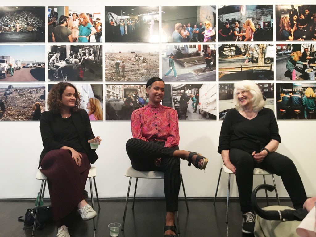 Rachel Barnard (left), Rad Pereira (center), and Mierle Laderman Ukeles (right) in conversation during the City as Partner event at The 8th Floor, NY. Photo by Emma Colón.