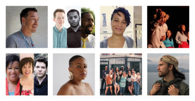 Top, left to right: Rosalind McGary; Alex Hare, Zhailon Levingston, and Nehemiah Luckett, A Burning Church Project; and Cannupa Hanska Luger. Bottom: Taja Lindley; Papel Machete; Kathryn Hunter-Williams, Lynden Harris, and Marc Callahan, Hidden Voices; Alfredo Salazar-Caro; and Tornillo: The Occupation Coalition.