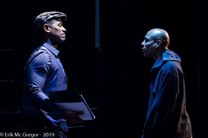 Cast members Nathan Hinton and Gary Vincent participate in a workshop for A Burning Church at the New Ohio Theatre in 2019. Photo by Erik McGregor, lighting by Katie Whittemore.