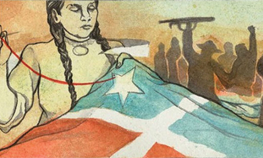 """End the Debt! Decolonize! Liberate Puerto Rico!"" a hand-illustrated scroll over 170 feet long and 3 inches wide"